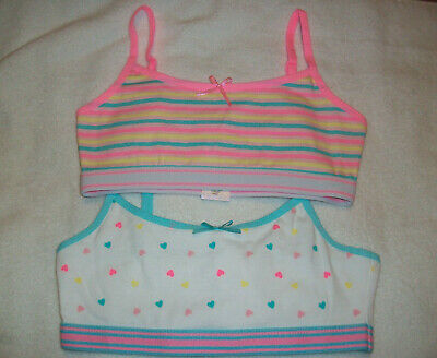 Two (2) Girls Pink Mult Pattern Motif Crop Top / Bra Vest Top Age 8-9 Years New