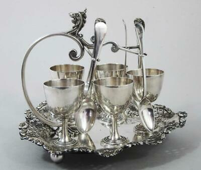 Top Quality Antique Silver Plated 5 Egg Cup Cruet Stand Stunning Dragon Design