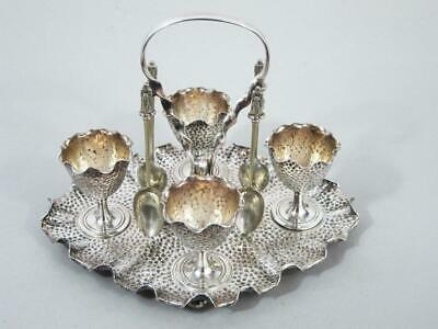 TOP QUALITY ANTIQUE SILVER PLATED EGG CUP CRUET STAND by JOSEPH ROGERS STUNNING