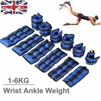 UK Ankle Weights Adjust Leg Wrist Strap Running Training Fitness Workout 1KG-6KG