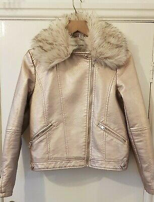 River Island Girls Rose Gold Faux Leather Jacket Detachable Fur Collar 12yrs VGC