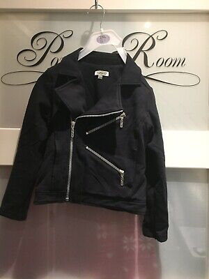Fab  Black Biker Style jacket By Kenzo  With Zip Design Size 6 Years