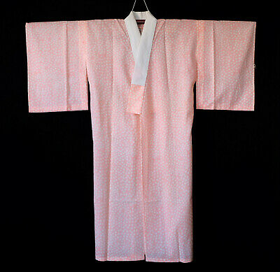 Japanese kimono vintage juban, Pink floral, Japan clothing, Gown T239