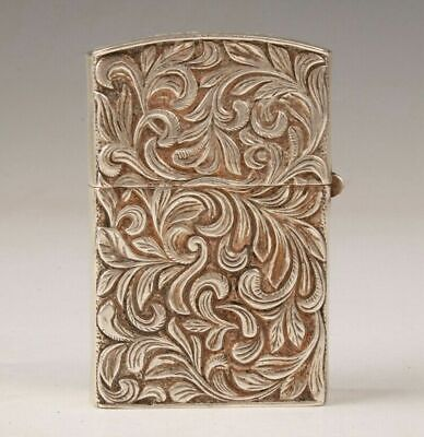 China Tibetan Silver Handmade Carving Flower Lighter Box Practical Collec Old