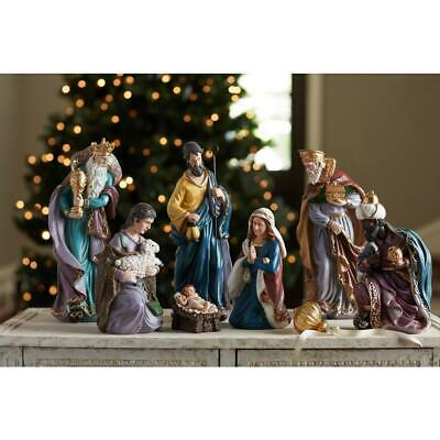 17 in. Nativity Set Baby Jesus Mary Christmas Ornament Indoor Decoration 7 pcs