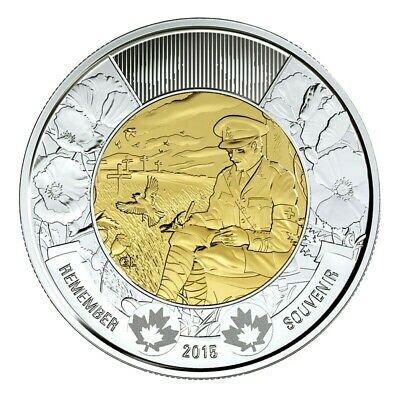 🇨🇦Canada Toonie 2 Dollars Coin Special In Flanders Field Remembrance Poem 2015