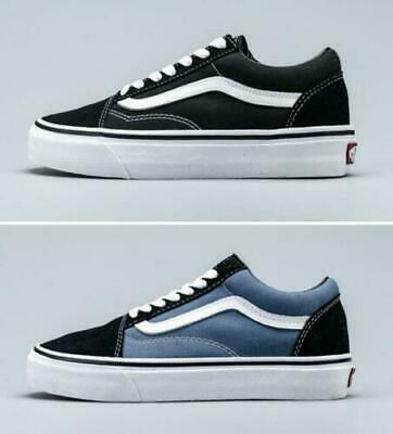 New Vans Old Skool Classic Canvas/Suede Black/White & Blue/Navy Shoes/Sneakers