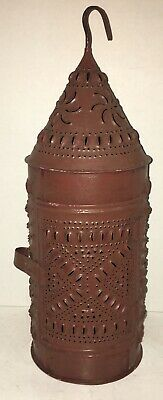 Early Antique Punched Pierced Tin Barn Candle Lantern Old Red Paint Primitive