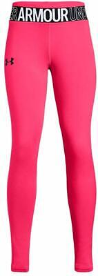 NEW Under Armour Girls Leggins Neon Pink/Black YLG NWT 9014
