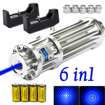 Military 450nm 1mW Blue Laser Pointer Pen Visible Beam Light+Battery+USA Charger