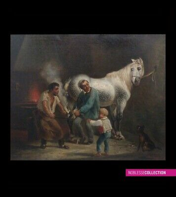 "ANTIQUE ORIGINAL FRENCH SCHOOL 1850s OIL ON CANVAS PAINTING ""At the blacksmith"""