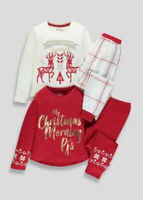 Girls BNWT 2 pack red check Christmas Pyjamas  age 7 8 Matalan (AB)