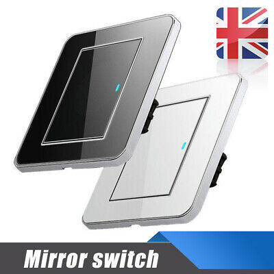 Acrylic 1 Gang 1 Way LED Light Wall Crystal Switch Mirrors 16A Push Panel Button