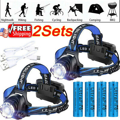 350000Lumen T6 LED Rechargeable Headlamp USB Headlight Zoomable 18650 Head Light