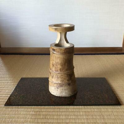 Japanese Tsugaru Nuri Display Board Vtg Wooden Lacquer Kadai & Bumboo Vase Set