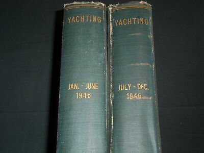 1946 Yachting Magazine Bound Volume Lot Of 2 - Complete Year - Great Ads