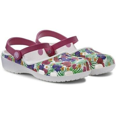 Ciabatte Crocs Karin Graphic Clog W White / Floral RelaxedFit Pantofole Donna