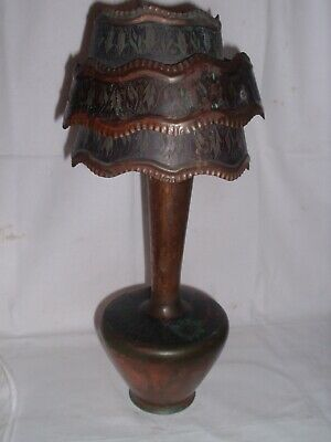 AMAZING Antique Unique Arts & Crafts Era Copper Table Lamp 3 Tier Shade
