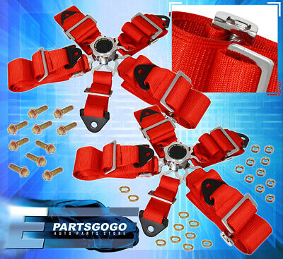 For Mitsubishi 2X 3Inch 5-Point Race Seat Belt Cam Lock Harness Strap Pairs Red