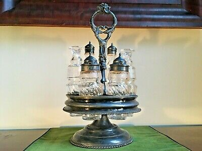 Antique Victorian Rotating Cruet - Castor Set 6 Etched Bottles Silver Plated