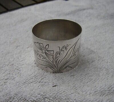 Antique WALLACE Sterling Aesthetic NAPKIN RING-Butterfly & Plant Engraved-NR
