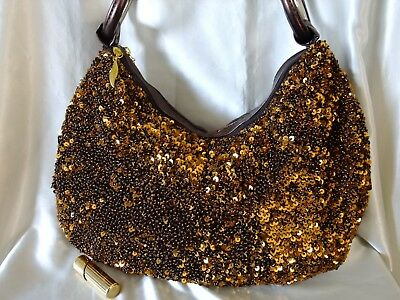 Dark Brown Fully Hand-Sewn Beaded Faux Leather Shoulder Bag/Hobo/Tote/Sling