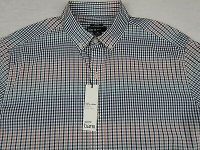 NEW Bar III Mens Stretch Easy Care Slim Fit LS Button Down Plaid Shirt M 15-15.5