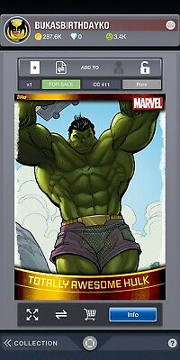 TOPPS MARVEL COLLECT DIGITAL Decades Gold Base Totally Awesome Hulk