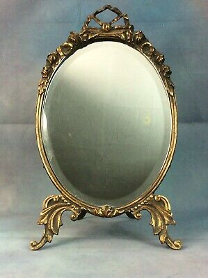ANTIQUE ROCOCO BRASS TABLE MIRROR, GENUINE 19thC MIRROR, FREE UK DELIVERY