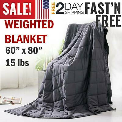 """15lbs Heavy Weighted Blanket Full Queen Size 60"""" x80"""" Reduce Stress Better Sleep"""
