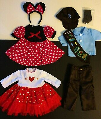 18 Inch Doll Clothes LOT, fits American Girl Minnie Mouse Holiday Dress Brownie