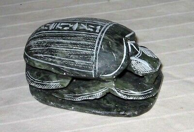 """4"""" Egyptian Carved Gray/Black Soap Stone Scarab Beetle Hieroglyphics Paperweight"""