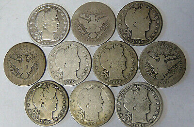 Lot of 10 Barber Silver Half Dollars Circulated Mixed Dates Mostly 1900's