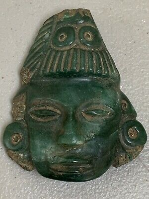 Pre-Columbian Mayan Stone Jade Green God Head