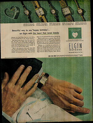 1952 Elgin Watches Man Looking At Watch Happy Birthday Vintage Print Ad 3349