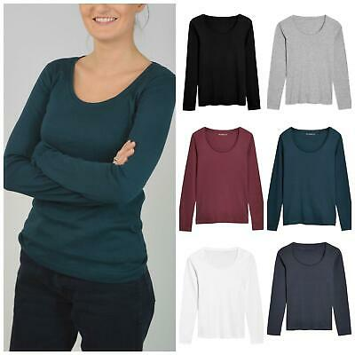 Womens Scoop Neck Long Sleeve Cotton T Shirt All Colours ex UK Big Brand