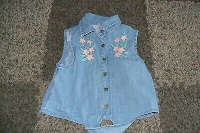 Girls Blue Denim Type Flowery pattern top age 4Y TU
