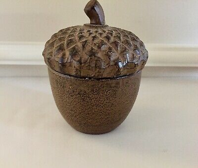 Cast Iron Acorn Lidded Box with Antique Brown Finish - Rustic Decor