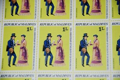 Bellman Mail 40 x Sc 786 Maldives 2 x MNH partial sheets of 20