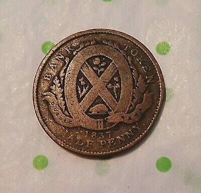 1837 Colonial Lower Canada Bank Token Half Penny Canadian Copper Coin