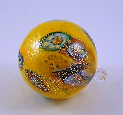 New Murano Millefiori Beautiful Yellow Ornament Ball & Murrine Italian Art Glass