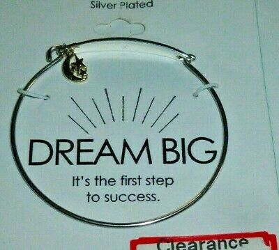 Silver Plated Dream Big Bracelet with Gold tone Half Moon & Star Charm Xmas gift