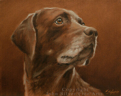 GERMAN SHORTHAIRED POINTER DOG ORIGINAL OIL PAINTING by UK Artist JOHN SILVER BA