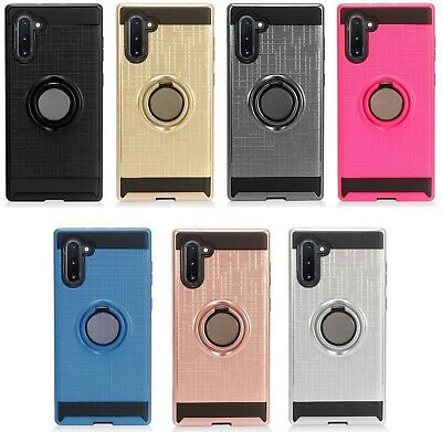 for {Samsung Galaxy Note 10} Metallic Hybrid with Ring Stand Phone Cover