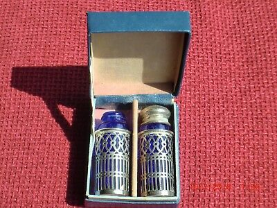 Vintage/Antique Silver Plated Blue Lined Pepperettes .Boxed