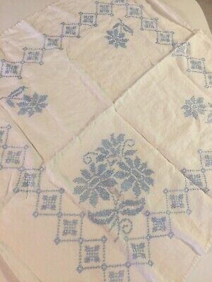 "VINTAGE HANDCRAFTED CROSS STITCH TABLECLOTH BLUE FLOWERS 30""x30"""