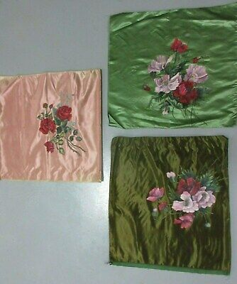 3 Antique Satin Pillow Cases Covers with Hand Painted Floral Designs
