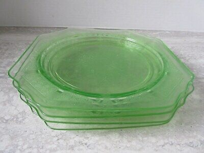 "Set of 4 Old Vintage Anchor Hocking Princess Green Depression Glass 8"" Plates"