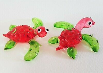 2 Miniature Glass SEA TURTLES Red & Green Glass Ornaments Glass Animals Gift