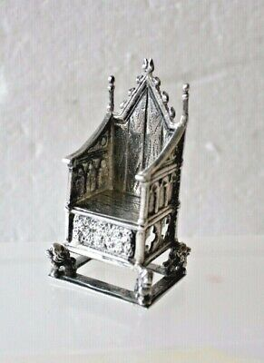 Antique 1901 Chester Silver Miniature Throne by Saunders & Shephard 2 1/4'' (6 t
